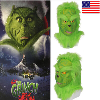 The Grinch Halloween Costume (USA Xmas Halloween Grinch Cosplay Costume Helmet How the Grinch Stole)