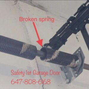 broken garage door spring cables 647-808-6168 + free maintenance