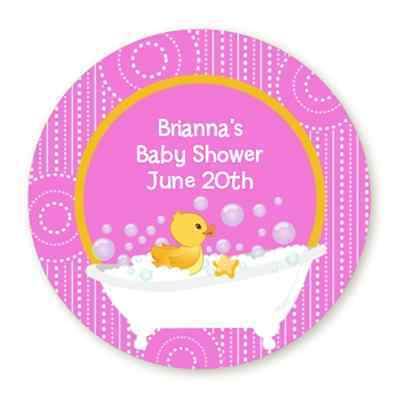 Personalized Rubber Ducks (Rubber Ducky Pink Duck - Round Personalized Baby Shower Sticker)