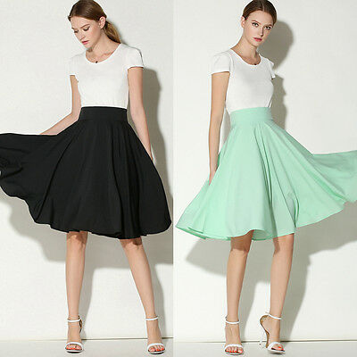 Vintage Women High Waist Solid Skater Flared Pleated Swing Long Skirt Dress