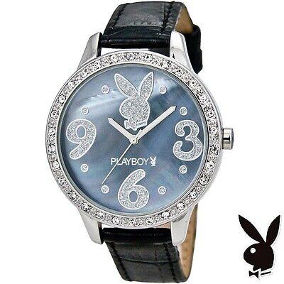 NEW RARE Playboy Watch S Bunny Black Leather Ladies Stainless Steel Quartz Women