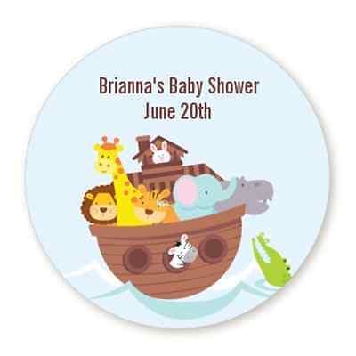 Noah's Ark - Round Personalized Baby Shower Sticker Labels - 6 sizes  - Noahs Ark Baby Shower