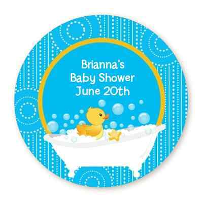 Personalized Rubber Ducks (Rubber Ducky Blue Duck - Round Personalized Baby Shower Sticker)