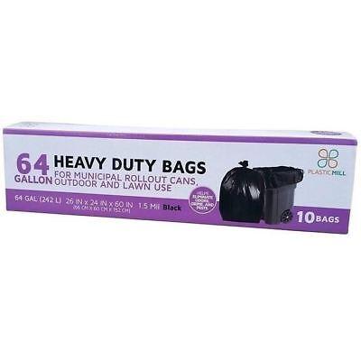 PlasticMill 64 Gallon, Black, 1.5 Mil, 50x60, 10 Garbage Bags Per Case