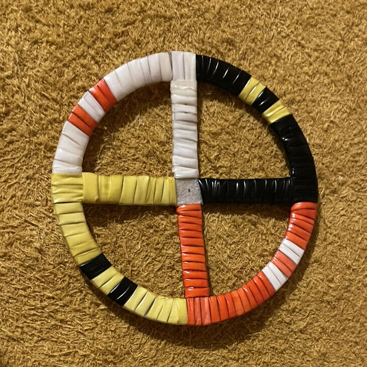 Awesome Colored Lakota Sioux Quilled Medicine Wheel Quilled On Rawhide