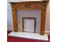 Fire Surround, Pine and Conglomerate Marble