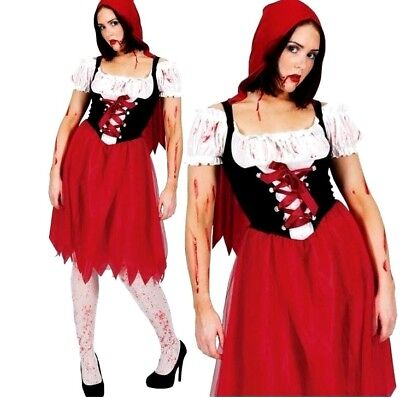 Ladies BLOOD RED DEAD RIDING HOOD Halloween Fancy Dress Costume UK Sizes 6-28](Size 28 Ladies Halloween Costumes)