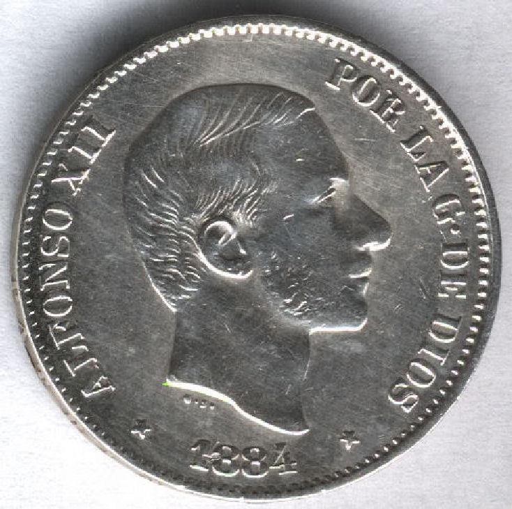 Alfonso Xii 1884 Philippines 50 Ctvos Manila @@ Bella @@