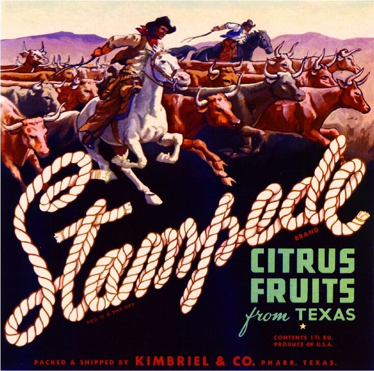 Pharr Texas Stampede Cowboy Orange Citrus Fruit Crate Box Label Art Print