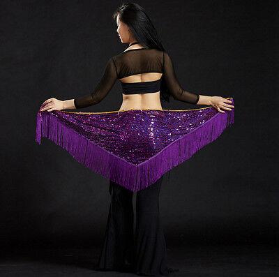 Mermaid Dance Costume (Womens Fringe Sequins Belly Dance Belt Indian Mermaid Dancing Hip Scarf)