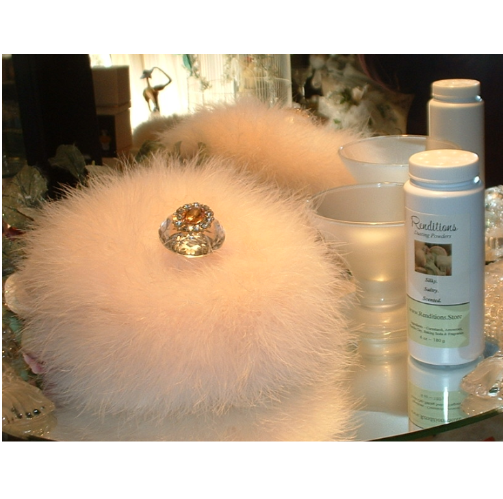 Honeysuckle White Patchouli 6 Oz Dusting Powder W/ Puff Stand By Renditions - $39.99