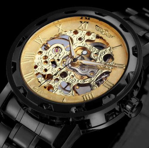 New Winner Mens Skeleton Stainless Steel Steampunk Mechanical Sport Wrist Watch
