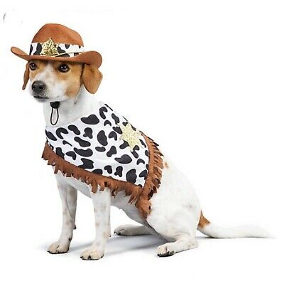 New Western Sheriff Cowboy Dog Cat Pet Outfit Halloween Costume Medium - Cowboy Cat Kostüm