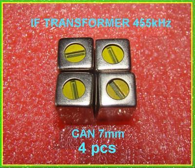 If Tuned Transformer Yellow 455 Khz Variable Coil Inductor Can 7mm Lot 4 Pcs
