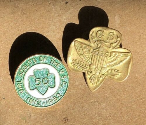 2 Vintage Girl Scout Pins 50 year anniversary