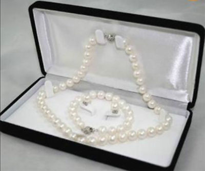New Natural White Akoya Cultured Pearl Necklace Bracelet Earring Set ()