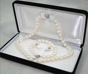 8-9MM White Akoya Cultured Pearl Necklace Bracelet Earring Set AAA