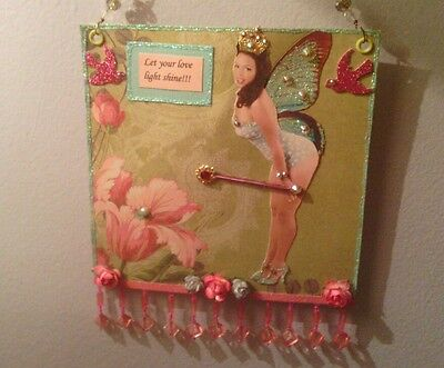 Original mixed media African American Pinup Fairy collage art with Swarovski