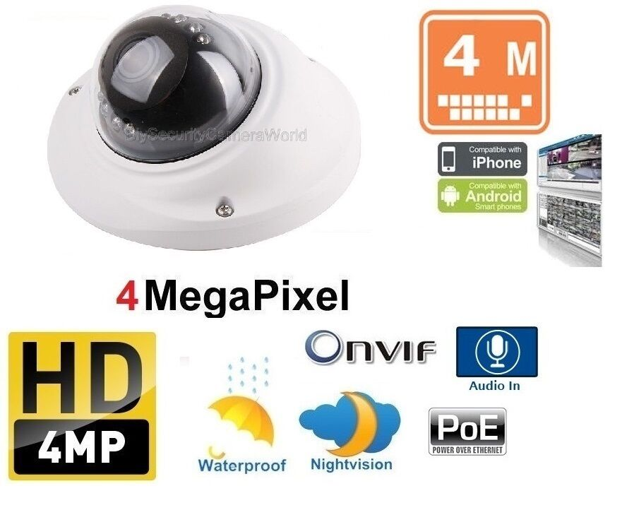 Indoor/Outdoor 4MP Network PoE IR Mini Dome Camera 2.8mm Len