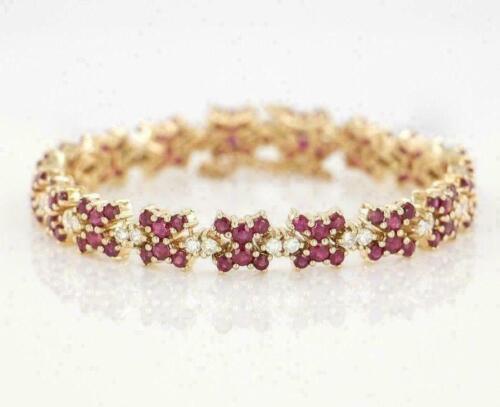 14k Yellow Gold Over Valentine Gift 9.60 Ct Round Ruby & Diamond Tennis Bracelet