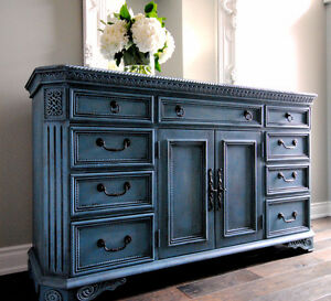 Refinished antique blue sideboard/dresser