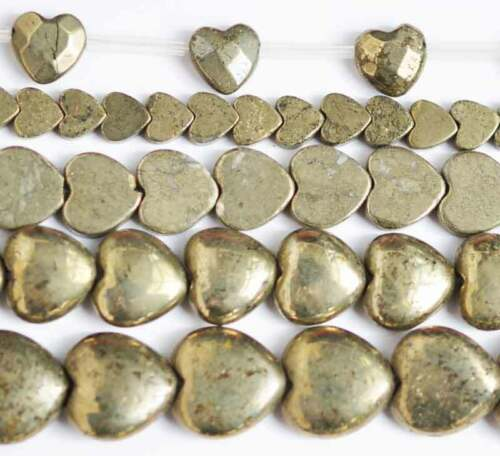 """Heart Faceted Smooth Natural Pyrite Gemstone Beads 15"""" Hand Jewelry 8MM 9MM 10MM"""