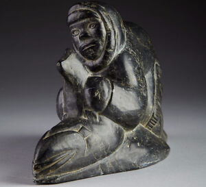 Peter Tukai Inuit Carving Hunter with Fish signed