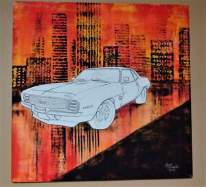 "Hand Painted Auto decor 24"" x 24"""