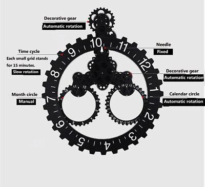 Big Wheel Hour Wall Clock Mechanical Style Gear Elements Quartz Movement Wall Cl