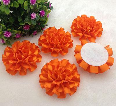 5pcs orange satin ribbon big Peony Flower Appliques/craft/Wedding decoration