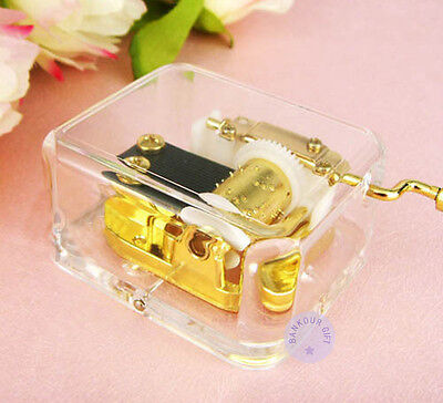 """Play """"Canon in D"""" Acrylic Hand Crank Music Box With Sankyo Musical Movement"""