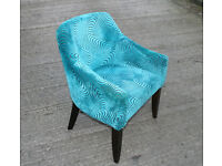 Funky Easy Chair for Lounge, Stylish Cover in Blue Soft Fabric - Lounge Bedroom, Hall