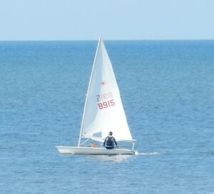 Laser sailboat with trailer