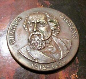 Vintage Charles Dickens 1812-1870 Brass Commemorative Medal