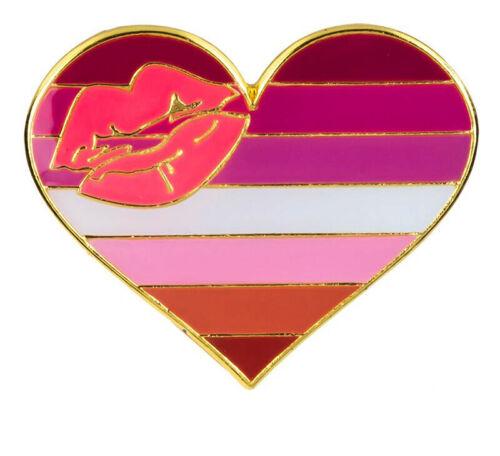 """Lipstick Lesbian Heart Lapel Pin 1"""" x 1"""" Gay Lesbian Pride LGBTQIA Hat Tie Tack"""