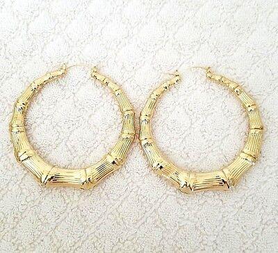 14K Gold Tone Bamboo Style Hoop Earrings Door Knocker US SELLER ()