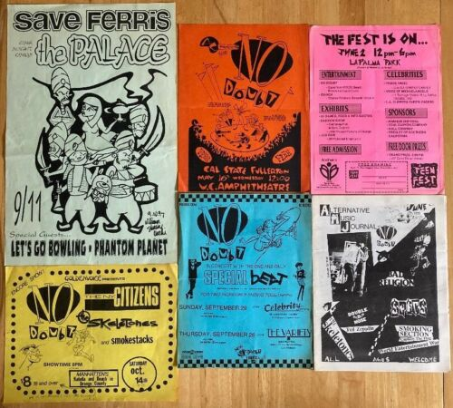 Lot of Vintage No Doubt Flyers, Zine & Save Ferris Poster Free Shipping