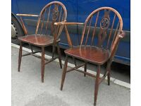 Vintage 1970's Pair Of Ercol Elm Old Colonial Windsor Dining Armchairs Chairs