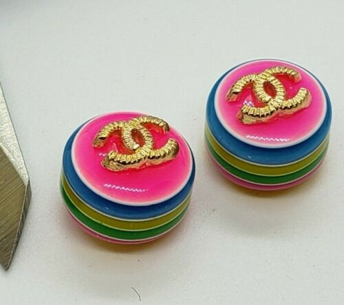 2 tiny Rainbow Chanel buttons, 11.5 mm, very cute AS IS, view all photos