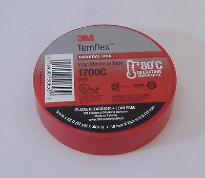 Premium Grade 3m Temflex Red Vinyl Electrical Tape 34 X 66 Flame Retardant