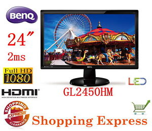 Benq GL2450HM 24 inch Widescreen 16:9 LED Monitor 2ms HDMI DVI Full HD Speakers