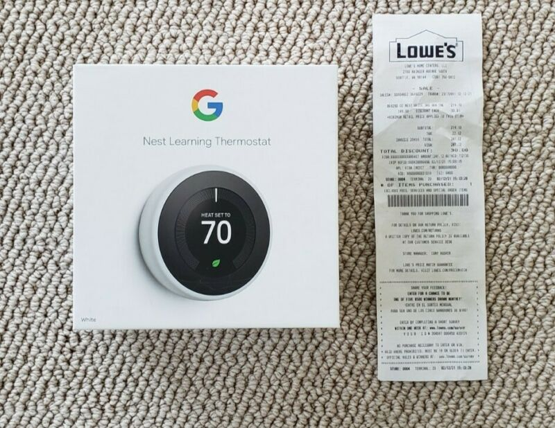 Nest Learning Thermostat 3rd Gen - White