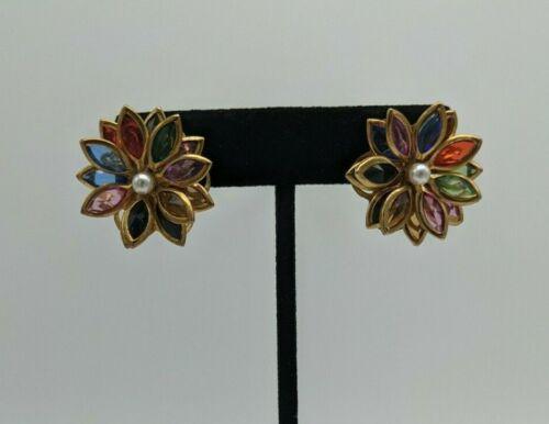 Vintage/Modern Gold Tone Multi Layer Rainbow Flower Pierced Faux Pearl Earrings
