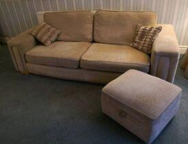 Beige 3 piece suite sofas, chair & pouffe. 4+3+1