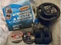 STEERING WHEEL & PEDALS BOXED with GAMES For PS2 / PLAYSTATION 2