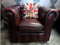 Stunning Chesterfield Vintage Low Back Oxblood Red Leather Club Chair Delivery
