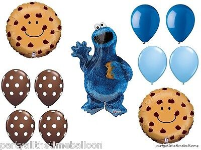 11 PC COOKIE MONSTER Chocolate Chip Party BaLlOoNs sesame street FREE - Sesame Street Balloon