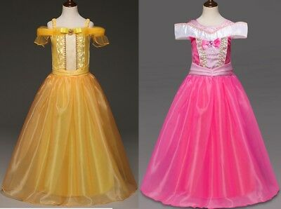 Mädchen Prinzessin Belle Sleeping Beauty Aurora Kleid Kostüm Festkleid Karneval