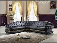 Venus Versace Leather Corner Sofa Suite
