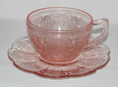 Jeannette Glass Co. CHERRY BLOSSOM Pink Cup and Saucer Set